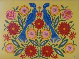 Дві синички сидять у квіточках
