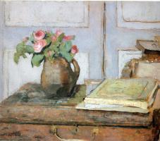 Jean Edouard Vuillard. A bouquet of flowers and art supplies