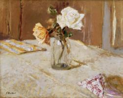 Jean Edouard Vuillard. Roses in a glass vase