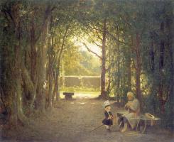 Йозеф Жерментовски. Ветеран с ребенком в парке