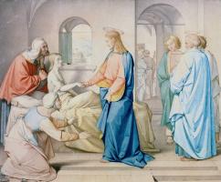 Иоганн Фридрих Овербек. Иисус воскрешает дочь Иаира. 1815