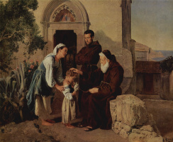 Ferdinand Georg Waldmüller. At the monastery gates