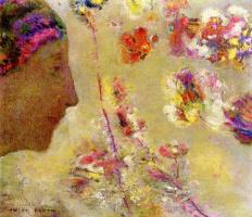 Одилон Редон. Профиль женщины с бабочкой и цветами