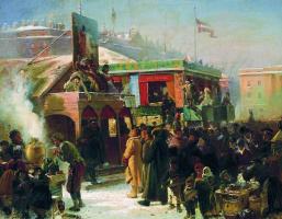 Konstantin Makovsky. Festivities during carnival at the Admiralty square in St. Petersburg. Sketch