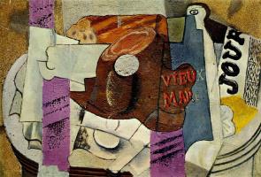 Пабло Пикассо. Ветчина, бокал, бутылка и газета