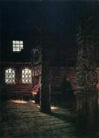 Василий Васильевич Верещагин. Внутренний вид деревянной церкви Петра и Павла