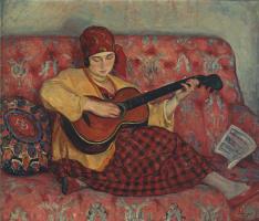 Анри Лебаск. Молодая девушка с гитарой