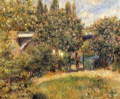 Pierre-Auguste Renoir. Railway bridge at Chatou (the Pink chestnut trees)