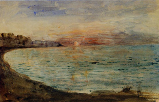 Eugene Delacroix. The cliffs at Dieppe at sunset