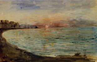 Eugene Delacroix. The cliffs at Dieppe at sunset