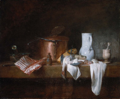 Jean Baptiste Simeon Chardin. Still life with white pitcher on the kitchen table