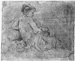 Рембрандт Харменс ван Рейн. Полуобнаженная молодая женщина