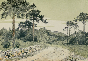 """Isaac Levitan. Crimean landscape. Sheet from the album """"a Collection of drawings by Russian artists in aid to poor children"""" (Moscow, 1887. L. 7)"""