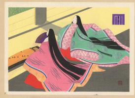 Эбина Масао. Две девушки с длинными волосами