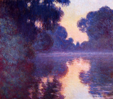 Claude Monet. Sunrise and Seine near Giverny