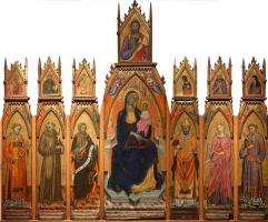 Франческо дАнтонио да Анкона. Мадонна с Младенцем. Христос и святые