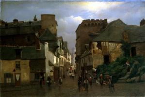 Оскар Конрад Клейнех. Городская улица с процессией