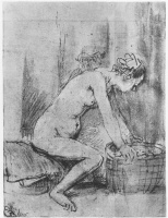 Рембрандт Харменс ван Рейн. Обнаженная натурщица, в профиль, опирающаяся руками на край корзины; на заднем плане – мужская голова