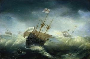 Ян Порселлис. Английские корабли в бурном море