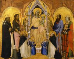 Аньоло Гадди. Мадонна с Младенцем на троне с ангелами и святыми