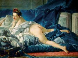 Francois Boucher. Dark-haired odalisque