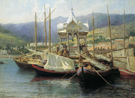 Grigory Grigorievich Myasoedov. Pier in Yalta. State Vladimir-Suzdal Historical-Architectural and Art Museum-Reserve