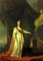 Дмитрий Григорьевич Левицкий. Портрет Екатерины II в виде законодательницы в храме богини правосудия .