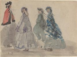 Эжен Буден. Четыре женщины в Трувиле