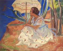 Henri Lebasque. Young woman with umbrella at St. Maxim