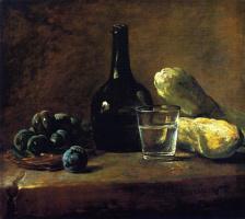 Жан Батист Симеон Шарден. Натюрморт со сливами, бутылкой и стаканом воды