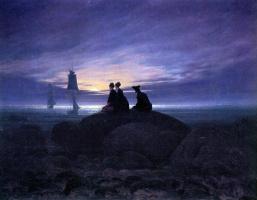 Caspar David Friedrich. Moonrise over the sea