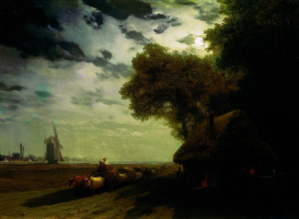 Иван Константинович Айвазовский. Украинский пейзаж с чумаками при луне