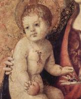 Антонелло да Мессина. Полиптих св. Георгия, центральная часть, сцена: Мадонна на троне, деталь: Младенец Христос
