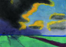 Широкий пейзаж с облаками