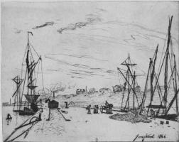 Ян Бартолд Йонгкинд. Вид гавани Онфлёра с железной дорогой