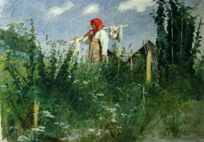 Ivan Nikolayevich Kramskoy. The girl with the linen on the yoke in the grass