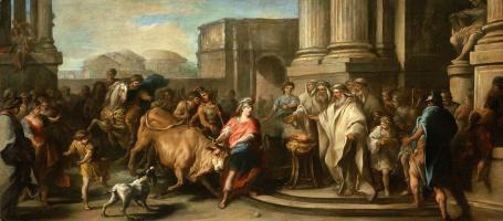 Charles Andre van Loo. Theseus tames the bull