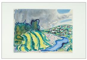 Tatiana Alekseevna Mavrina. Landscape with river and cows. 1985 white