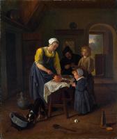 Ян Стен. Крестьянская семья за едой (Молитва перед едой)