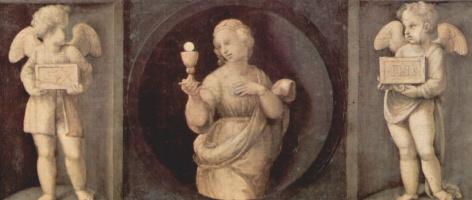 Рафаэль Санти. Алтарь Бальони, центральная часть, пределла с изображениями кардинальных добродетелей. Надежда и два ангела