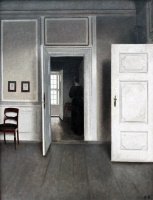 Вильгельм Хаммерсхёй. Интерьер в открытой дверью. Страндгед, 30