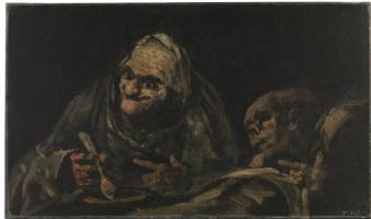 Francisco Goya. Two old men for food