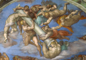 Michelangelo Buonarroti. Angels with attributes of the passion of Christ, the right rest