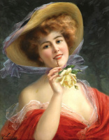 Emile Vernon. Girl with a yellow rose.