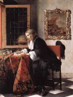 Габриель Метсю. Мужчина пишет письмо