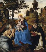 Филиппино Липпи. Мадонна с младенцем и святым Иеронимом и Домиником