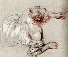 Антуан Ватто. Лежащая на земле вакханка