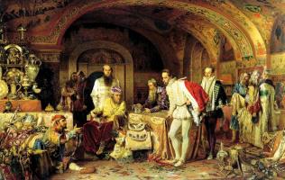 Alexander Dmitrievich Litovchenko. Ivan the terrible shows his treasures to the English Ambassador Horsey