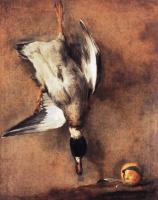 Жан Батист Симеон Шарден. Утка с зеленой шеей и севильский апельсин