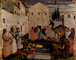 Фра Беато Анджелико. Центральный алтарь святых Косьмы и Дамиана из доминиканского монастыря Сан Марко во Флоренции, основание триптиха, восьмая сцена